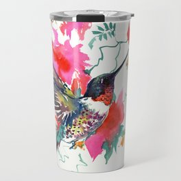 Flying Hummingbird and Pink Flowers, Tropical Foliage floral bird art Travel Mug