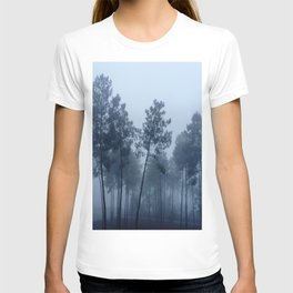 Fog and Forest II-wood,mist,romantic, greenery,sunset,dawn,Landes forest,fantasy T-shirt