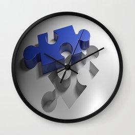 Blue puzzle near its hole Wall Clock