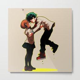 Uraraka Hug Midoriya Metal Print