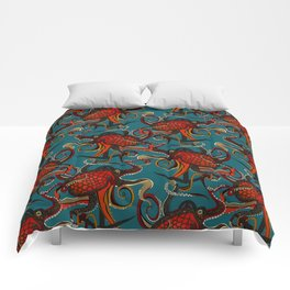 octopus ink teal Comforters