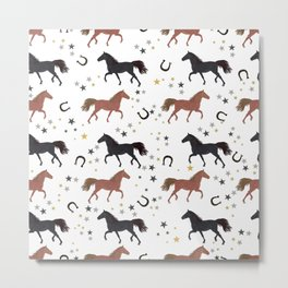 Horses With Horseshoe and Stars Pattern Metal Print