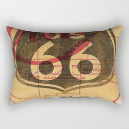 Route 66 Vintage Travel Poster Rectangular Pillow