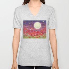 purple sky, fireflies, snails, and poppies Unisex V-Neck