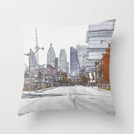 CN Tower and Toronto cityscape from downtown Throw Pillow