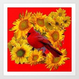 RED CARDINAL BIRD  & YELLOW SUNFLOWERS ART Art Print