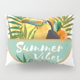 Summer Vibes Typography Tropical Bouquet With Toucan Pillow Sham