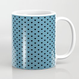 Small Black Heart pattern On Blue Background Coffee Mug