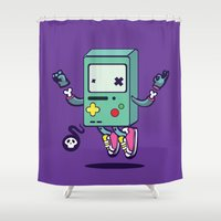 bmo Shower Curtains featuring Adventure (run-out-of) Time: BMO by xephilas