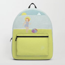Girl at the beach with kite and ball in the 1950's vintage Backpack