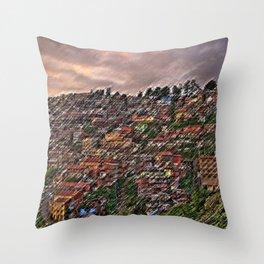 Approaching Storm Shimla, India Hillside Village Landscape by Jeanpaul Ferro Throw Pillow