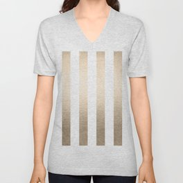 Simply Vertical Stripes in White Gold Sands Unisex V-Neck