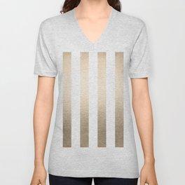 Simply Vertical Stripes in White Gold Sands Unisex V-Neck