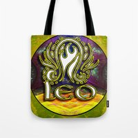 astrology Tote Bags featuring Leo Zodiac Sign Astrology by CAP Artwork & Design