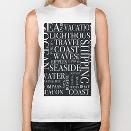 Nautical black and white text. Biker Tank