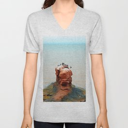 Cormorants on Red Sandstone Rock Unisex V-Neck