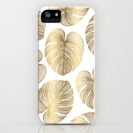 Boho White and Gold Leaf iPhone Case