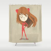 evangelion Shower Curtains featuring Asuka by Rod Perich