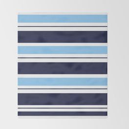Blue Navy and Turquoise Stripes Throw Blanket