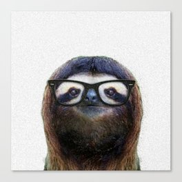 Hipster Sloth Canvas Print