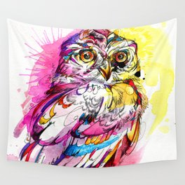 Neon Northern Pygmy Owl Wall Tapestry