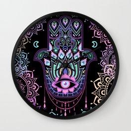 Pastel Hamsa amulet Wall Clock