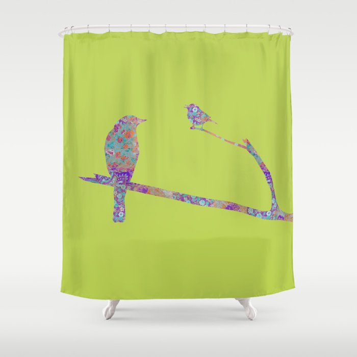 Bird And Birdie On Branches Chartreuse Purple Orange Turquoise Teal Shower Curtain By Miaomiaodesign