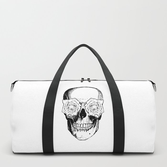 Skull and Roses | Black and White Duffle Bag