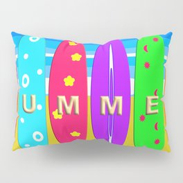 Summer in text on surfboards Pillow Sham