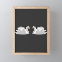moonlight swans Framed Mini Art Print