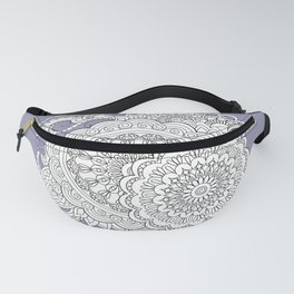 zen-tangle composition with mandalas and flowers Fanny Pack