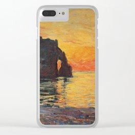 Claude Monet - Etretat  Cliff Of Aval  Sunset  1885 Clear iPhone Case