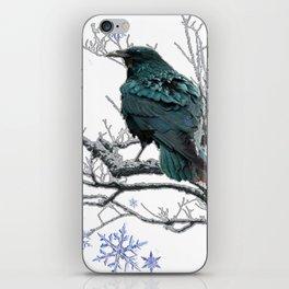 CROW/RAVEN IN WINTER TREE & SNOWFLAKES iPhone Skin