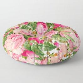 Botanic pink green fuchsia romantic roses flowers Floor Pillow