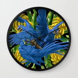 Hyacinth Macaws and bananas Stravaganza (black background). Wall Clock