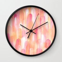 Abstract Layered Brush Texture Warm Shade Red Orange Wall Clock
