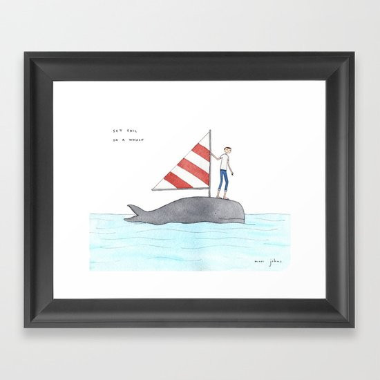 set sail on a whale Framed Art Print