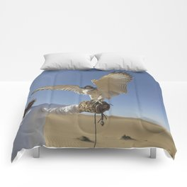 Falconer With Hooded Falcon In The Desert Comforters