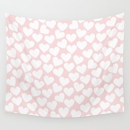 Pink & White - Valentine Love Heart Pattern - Mix & Match with Simplicty of life Wall Tapestry