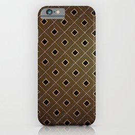 Black and Gold Graduating Diamond Pattern iPhone Case