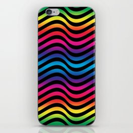 Wiggly Vibrant Multicolour Lines iPhone Skin