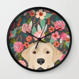 Yellow Lab dog portrait labrador retriever dog art pet friendly florals floral Wall Clock
