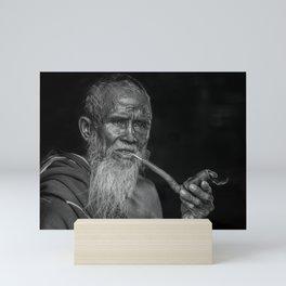 Portrait of an Elderly Man Smoking Pipe Mini Art Print