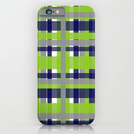 Retro Modern Plaid Pattern 2 in Lime Green, Bright Navy Blue, Gray, and White iPhone Case