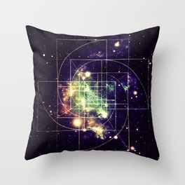 Galaxy Sacred Geometry: Golden mean Throw Pillow