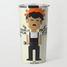 Modern Times, Charlie Chaplin, minimal movie poster, classic film, Charlot playbill Travel Mug