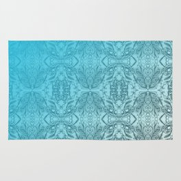 Blue Gradient Floral Doodle Pattern Rug