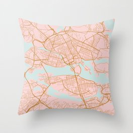 Stockholm map, Sweden Throw Pillow