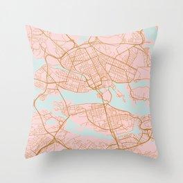 Stockholm map, Sweden Throw Pillow