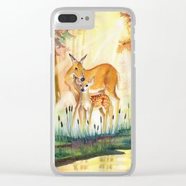 Mom and Little Deer Clear iPhone Case